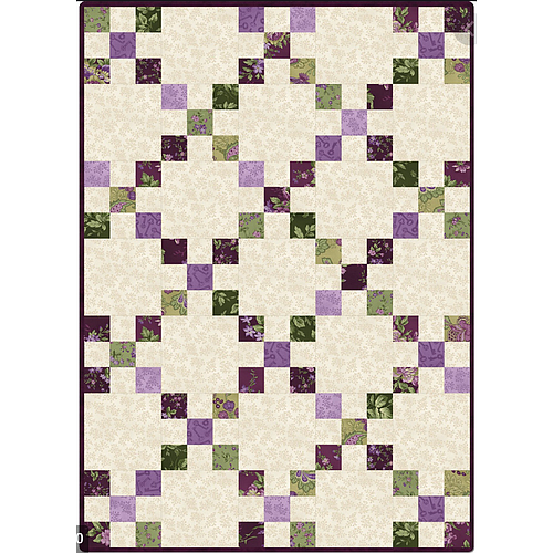 "Aubergine, Pre-cut Irish Chain Quilt (30"" x 42"")"